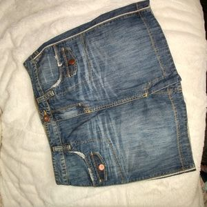 Tommy Hilfiger Distressed Cotton Denim Skirt